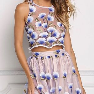 Royal-Blue Floral Embroidery Luxe Two Piece Set